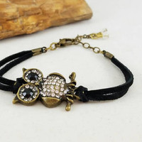 Owl leather bracelet, bohemian style bracelet, owl jewelry, black leather,  body novelties, jewelry, leather bracelet