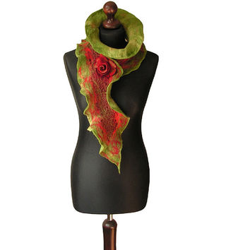 Nuno felted collar nuno felted scarf nuno felted shawl art to wear autumn scarf red green boho collar with felted brooch OOAK