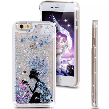 Liquid Glitter Phone Case for Iphone 5 5S (Lady in Blue)