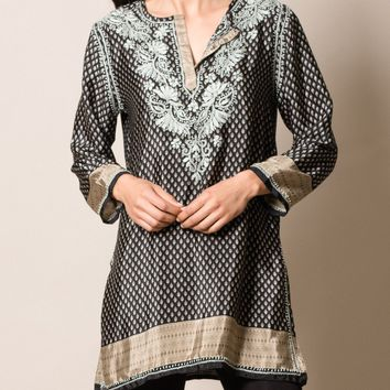 Shalimar Silk Tunic - Black