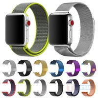 Breathable Nylon Sport Watch Strap Band for Apple Watch Series 3 2 1 iWatch Classic Woven Watchband 42mm 38mm High Quality
