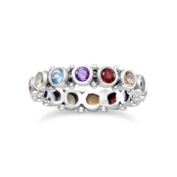Oxidized Eternity Ring with Amethyst, Citrine, Peridot, Topaz, Garnet