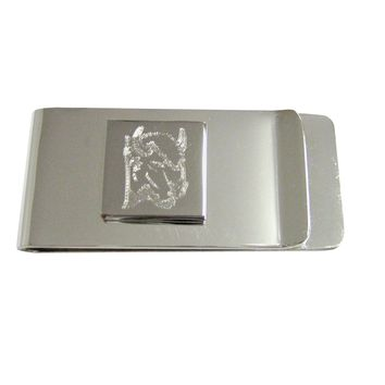 Silver Toned Etched Bison Head Money Clip