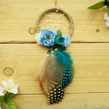 Blue Floral Dreamcatcher: Car Accessory, Car Dreamcatcher, Rearview Mirror Accessory, Blue Car Decor, Flower Dreamcatcher, Blue Dreamcatcher