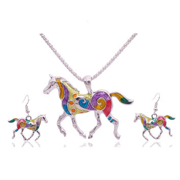 Colorfully Painted Enamel Horse Gold Jewelry Sets with earrings and necklace silver or gold plated chain  FREE SHIPPING