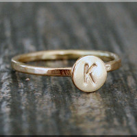 14k Gold Filled Initial Ring, Personalized Gold ring, 14k Gold Stacking Ring, delicate gold filled ring, Hand stamped Initial Ring