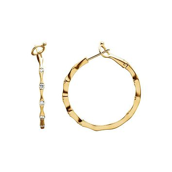 14k Yellow Gold 31mm Inside Outside Diamond Omega Round Hoop Earrings