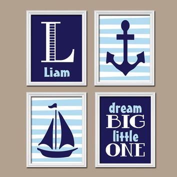 Nautical Boy Wall Art Nursery Canvas Artwork Child Navy Blue Monogram Sailboat Sea Anchor Ocean Dream Big Set of 4 Prints Baby Bedroom Crib