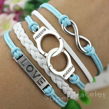 Silver bracelet - friendship LOVE bracelet - personality infinity - handcuffs bracelet - the best gift for girlfriend and BFF