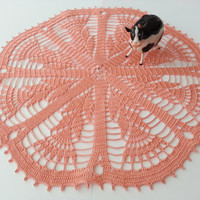 Crochet Tablecloth Round Lace Doily with Peach Flower Shabby Chic Table Centerpiece Bridal Shower Gifts