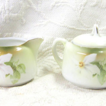 Antique Porcelain Green White Bone China Sugar Creamer Set Floral Porcelain Serving Set German Bone China Bowl and Pitcher Sugar Creamer Set