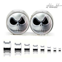 Skull  steel ear gauge,  silvery tunnel  plugs,Stainless Steel Screw Ear Gauges,guage earrings,girly ear plugs