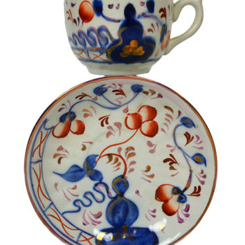 Coffee Cup and Saucer in Gaudy Welsh, Antique English, Early 1900s