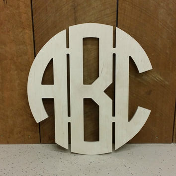 "24"" Wooden Monogram - Unpainted Circle Monogram Wall Hanging - Nursery Monogram - Wedding Monogram - Momogram Door Hanger - Circle Monogram"