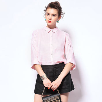 Pink Button Up Collar Shirt