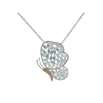 Sparkling Baguette Butterfly Necklace