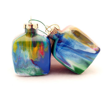 Glass Ornament Painted Inside Multicolored Unique Handmade Christmas Cube OOAK Holiday Decor