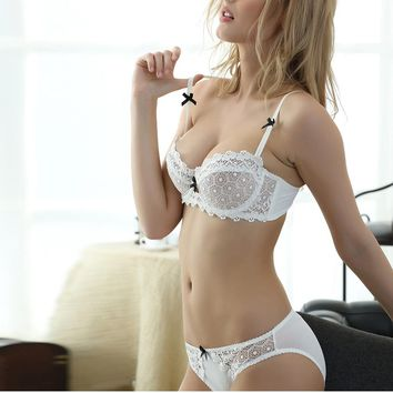 Newest Very Sexy Women Half Cup Lace Bra + Briefs Plus Size Ultra-thin Sexy Plunge Bra Sets A B C D Cup Lingerie Set