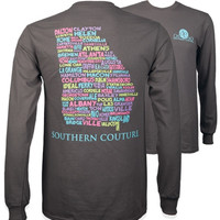 Southern Couture Preppy Classic Georgia Cities Long Sleeve T-Shirt