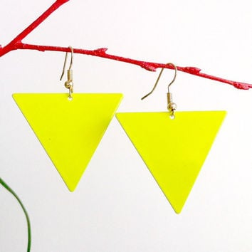 Neon Yellow Triangle Earrings