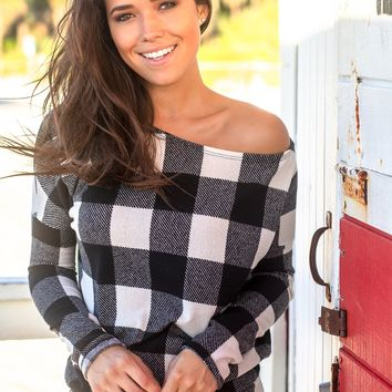 Ivory and Black Plaid Asymmetrical Top