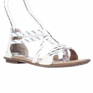 BOC Born Concept Candee Woven Flat Sandals - White/Silver