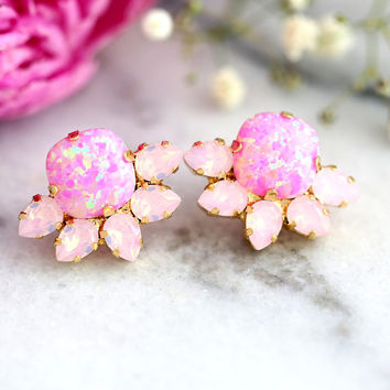 Pink Earrings, Pink Opal Earrings, Powder Pink Earrings, Bridal Pink Earrings, Pink Opal Studs, Bridesmaids Earrings, Powder Pink Studs