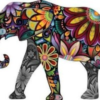 "The Cheerful Elephant - 18""W x 13""H - Peel and Stick Wall Decal by Wallmonkeys"