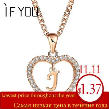 IF YOU Romantic Gold Color CZ Love Heart Crystal Pendant Letter Necklace Charms Women 26 Capital Letters J B K Statement Jewelry