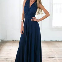 Navy Blue V-Neck Tie Maxi Dress