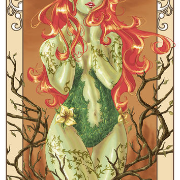 DC Comics POISON IVY with Vines from Batman Art Nouveau Print Poster