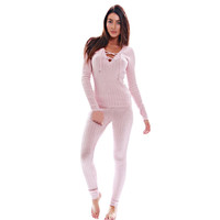 New Autumn Winter Pink Long sleeve Jumpsuit Women Bodysuit Jumpsuits Deep V-Neck Lady Jumpsuit Rompers Macacao Feminino
