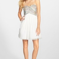 Junior Women's As U Wish Strapless Gem Bodice Dress