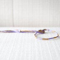 Friendship Bracelet Lilac / Lavender and Gold Embroidery Threads
