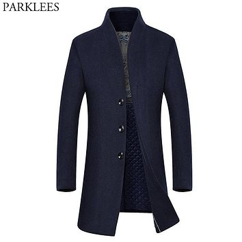 Winter Long Wool Trench Coat Men 2017 Casual Mens Jackets Coats Slim Fit Men Overcoat Single Breasted Pea Coat Men Trench Coat