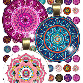 Colorful  Mandalas Collage Sheet /you will get it in 3 sizes/ circle  Pendant Printable Download jewelry making