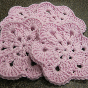 Crochet Coaster - African Flower Coasters - Set of Four Pink Coasters or Face Scrubbies