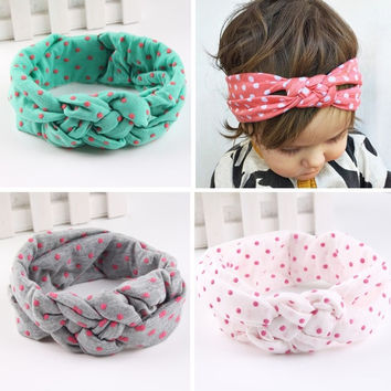 Newborn Baby Girl Cotton Turban Headband Fabric Elastic Hair band Dots Knot Headwear Bandanas = 1930316868
