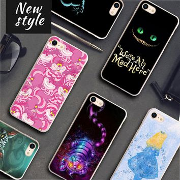 BiNFUL alice in wonderland cheshire cat Pattern Transparent frame Hard Phone Cases Cover for Apple iPhone 7 8 7Plus X 6 6s 6Plus