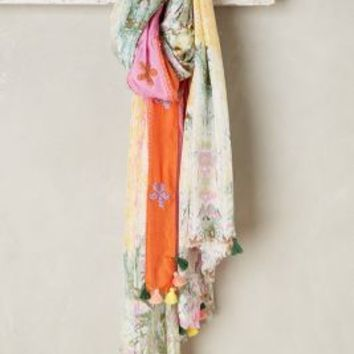 Silk Gardenry Scarf by Anthropologie in Pink Size: One Size Scarves