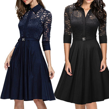 Lace Winter Hot Sale Vintage One Piece Dress [9882728719]