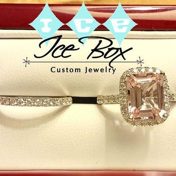 Morganite Engagement Ring - 8 x 10mm Emerald Cut Morganite set in a 14K White Gold Diamond Halo Setting with Matching Eternity Band