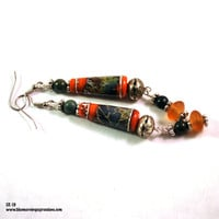 Earrings for Women, Dangle Earrings, Boho Earrings, Lampwork Bead Earrings, Long Earrings, Bohemian Jewelry