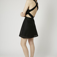 Ruched Halterneck Skater Dress - Clothing