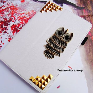 3D Copper OWL Bird KICKSTAND Stand Stylus holder Deluxe Leather Full Flip Cover Metal Studded Trim Russian Puzzle Case for iPad Mini 7.9'