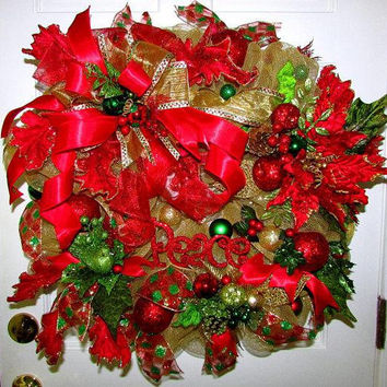 Clearance Sale, Christmas door wreath, decomesh wreath, Christmas decorations, front door decor, Christmas in July, holiday wreath