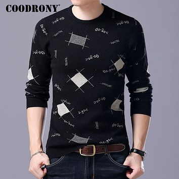 COODRONY Mens Knitted Sweaters Men Wool Sweater 2017 Winter Slim Fit O-Neck Pull Homme Geometric Pattern Cashmere Mens Pullovers