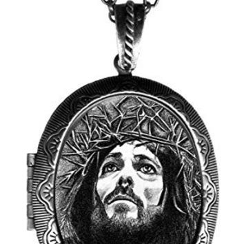 "Jesus Christ Crucifixion Huge 2 1/2"" Solid Perfume Locket Pendant Antique Silver"