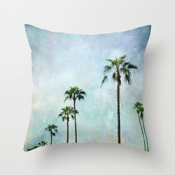 "Palm tree pillow,18x18 or 22x22 ""Palm trees"" turquoise pillow,teal,aqua,blue,nature,photo pillow,retro,vintage,travel,home decor"
