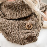 Knit Button Accent Infinity Scarf - Mocha